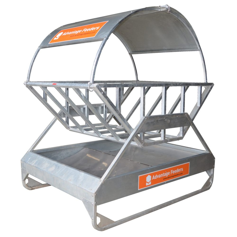 Hay feeder roof for tray hay feeder